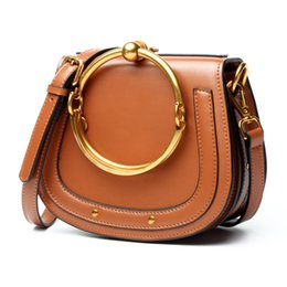 Wholesale Sky Saddle - Stars Saddle Bag Handbags Bracelet bag 2017 Designer style Circle Flap handbag Genuine leather Vintage Shoulder crossbody bags 37654