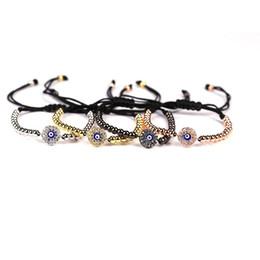 Wholesale Men Braids Designs - Simple Design Men Rose Gold Micro Pave Cubic Zirconia Charm Women's Bracelets Evil Eye Connector Braiding Macrame Bracelets