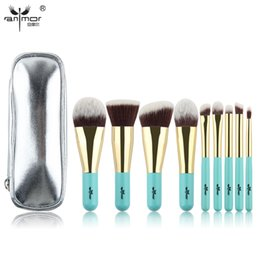 Wholesale Sets Traveling Bags - Anmor Hot Sale 9Pieces Synthetic Hair Makeup Brushes With Sliver Color Bag Beautiful Traveling Makeup Brush Set B 001