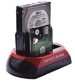 "Wholesale Ide External - 2.5"" 3.5"" 2 SATA 1 IDE HDD Hard Disk Drive twin Docking Station USB HUB Reader External HDD Enclosure Free Shipping"