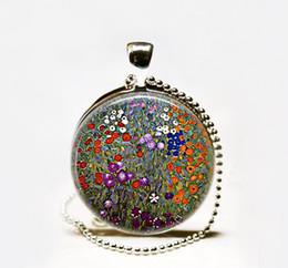 Wholesale Photo Farms - Handmade Gustav Klimt's Farm Garden art pendant,Klimt art pendant Glass Photo Necklace garden jewelry