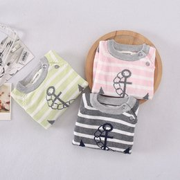 Wholesale Sweater Boys Stripes - Boat anchor stripe boys Sweater Autumn Winter Children Sweaters kids Pullover Sweaters baby Underwear Knitted Sweaters Boys Clothes A1040