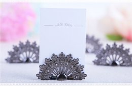 Wholesale Peacock Place Cards - Free Shipping 100PCS Antiqued Fan Place Card Holder Wedding Favors Party Table Decoration Shower Peacock Name Card Holder