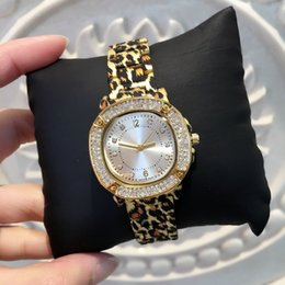 Wholesale Women Leopard Top - 2017 New model Fashion lady bracelet watches leopard sexy women wristwatch with diamond gold color top brand watches free shipping
