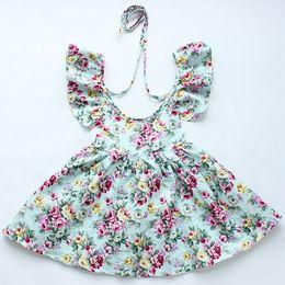 Wholesale 335 Neck - Girls Lace Floral Dress Kids Clothing 2017 Summer Lace Tutu Dress Fashion Sleeveless Vest Flower Princess Dress YAN-335
