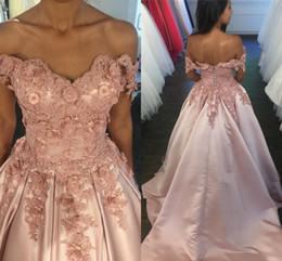 Wholesale Sweetheart Princess Prom Dresses - Elegant Nude Pink Princess Quinceanera Dresses Off Shoulder Satin Backless Gold Lavender Fuchsia Petite Prom Dresses Sweet 16 Dress Lace Up