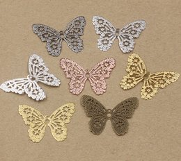 Wholesale 14k Butterfly Pendant - 32*26mm diy antique bronze silver rose gold gun black Copper filigree butterfly charms for jewelry making, metal bracelet pendants flat back