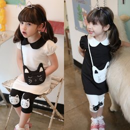 Wholesale Dress For Girl Kitty - Wholesale- Cartoon Girls Dress Sets Hello Kitty Dress+Leggings 2Pcs Girl Clothing Set Summer Girls Clothes Kids Clothes for 3~8Y Girl CF187