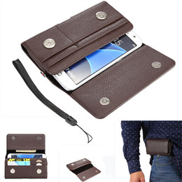 Wholesale Belt Clip Phone Pouch - Fashion Universal PU Leather holster Belt Clip phone Wallet Case Cover Pouch for Samsung S6 S7 4.0-6.3 inch