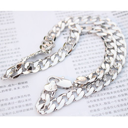 """Wholesale Curb 12mm - Heavy chain 24K white gold filled men's necklace curb link jewelry 23.6 inch 12mm ( size: 23.6"""" , color: silver )"""