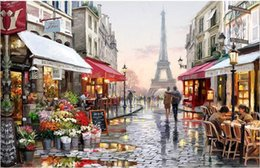 Wholesale Cartoon Hand Mirror - Diy digital oil painting by numbers paint drawing coloring by number canvas hand painted picture wall decor eiffel towel E190