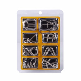 Wholesale puzzle iq test - 8PCS Metal Wire Puzzle Magic IQ Test Mind Game Adults Child Kids Toy Cardano's Rings Series