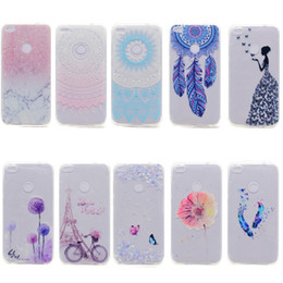 Wholesale Huawei Ascend Phone Cases - Transparent TPU Cover For Huawei Ascend P8 Lite 2017 Case Fashion colour decoration Tower bike Butterfly Girl Feather Design Phone Case