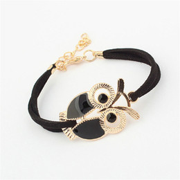 Wholesale Womens Gold Link Bracelets - Wholesale-Brand new Fashion Womens Girls Vintage Owl Decoration Faux Leather Bracelets bangles #20 2016 Gift 1pc