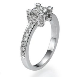 Wholesale Diamond Accent Rings - VS D 1.4 CT SOLITAIRE PRINCESS CUT + ACCENTS DIAMOND 14K WHITE GOLD WEDDING RING