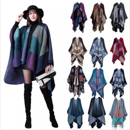 Wholesale Plaid Poncho Scarf - Plaid Poncho Women Vintage Fashion Scarf Floral Wrap Knit Cashmere Scarves Lady Winter Cape Shawl Cardigan Blankets Cloak Coat Sweater A3023
