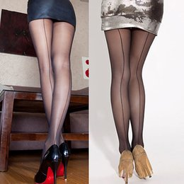 Wholesale Socks Seam - Wholesale- New arrival! Sexy Women's Ultra Sheer Transparent Line Back Seam Tights Stockings Pantyhose