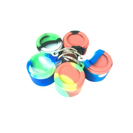 Wholesale Glass Jars Free Shipping - Silicone Wax Container Non-stick 6ml Key Chain Silicon Jars Dab Container With Rich Color MOQ=1piece Free Shipping