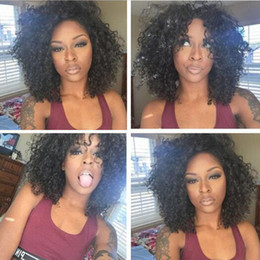 Wholesale Kinky Curly Hair Styles - Wholesale Bob Curly Wig Simulation Human Hair Kinky Curly Full Wigs Short Bob Style Full Wigs In Stock