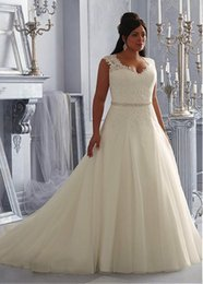 Wholesale See Through Top Wedding Dresses - Custom Made New Arrival Fishtail Lace Back Top Fancy Sexy See Through Beading Lace Organza White Ivory A-Line Plus Size Wedding Dresses