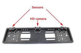 Wholesale Mirror License Plates - European License Plate Car Parking Sensor PZ600L DVD TFT Rearview Mirror Four Sensors Human Voice Bibi Sound 64 Colors To Choose