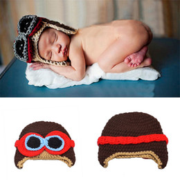 Wholesale Toy Hand Make - Crochet Lovely Child Hand Made Knitting Pilots Photography Props Design Baby Hat Newborn Photo Props Knitted Baby Cap BP083