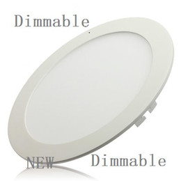 Wholesale Led Dimmable Light Switches - Wholesale- 10pcs lot Dimmable Ultra thin 3W 4W  6W   9W   12W  15W  25W LED Ceiling Recessed Grid Downlight   Slim Round Panel Light