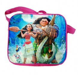 Wholesale Messenger Bottle - cartoon moana Kids Lunch Bag Lunch Box water bottle for Girls School Fashion Bag Ourdoor Picnic Food Bag for kids back to school