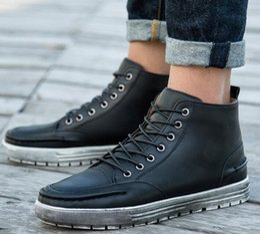 Wholesale Korean Lace Up Boots - 2018 autumn winter hot models retro Martin boots men Korean version of non-slip casual high-help men's shoes plus cotton