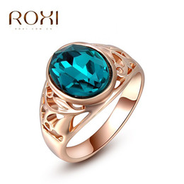 Wholesale Genuine Crystal Rings - ROXI Top Brand Christams Gift Classic Genuine Austrian Crystals Rose Gold Plated Blue Stone Ring For Women FashionJewelry Party