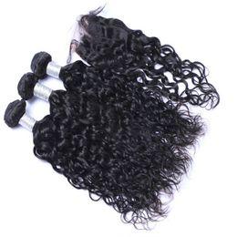 Wholesale Natural Hair Buns - Brazilian Human Bun Bundles Water Wave Hair With Closure 3 Bundles With Closure Brazilian Wet And Wavy Hair With Closure Wavy Human Hair
