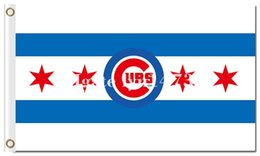 Wholesale Cub Logos - Chicago Cubs logo flag MLB flag 90x150cm polyester digital print banner with 2 Metal Grommets 3x5ft