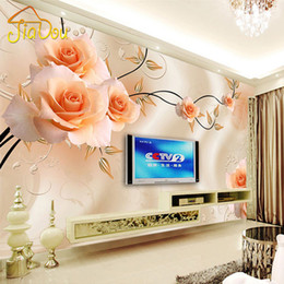 Wholesale Roses Wallpaper Home Decor - Wholesale-Custom Photo Mural Wallpaper Luxury Villas TV Backdrop Papel De Parede 3D Wallpaper For Walls Warm Rose Wall Papers Home Decor