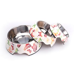 Wholesale Stainless Steel Dog Bowls Pails - Pet Cats Food & Water Bowl Modern Butterfly Printing Design Stainless Steel Pet Dog Bowl Feeder Products Free Shipping