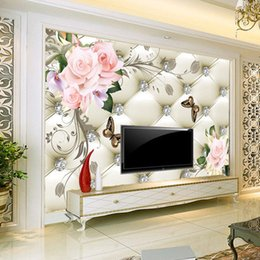 Wholesale Chinese Silk Wall Painting - Custom Any 3D Wall Murals Wallpaper Silk Flower European Style 3D TV Background Large Wall Painting Living Room Mural