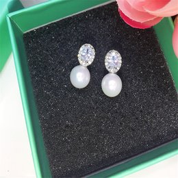 Wholesale White Pearl Oval Rhinestone - New Wedding Party Bride Dangle Earrings For Women Girls 925 Sterling Silver Oval Pearl Drop Earrings With Gemstone Zircon GL