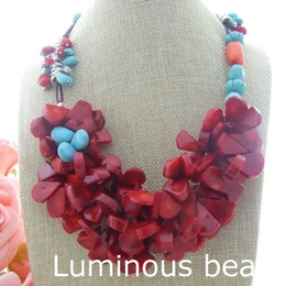 "Wholesale Crystal Beaded Necklaces - AB012006 20"" 3 Strands Turquoise Coral Crystal Necklace AB012407 43"" Turquoise Coral Long Necklace"