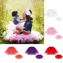 Wholesale Womens Pink Tulle Skirt - Mother and daughter clothes baby girls tulle tutu skirt princess skirts baby and womens lace tutu skirts 2017 summer Family dress A0670