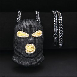 Wholesale Black Mask Necklace - Mens New CSGO Pendant Necklace Gold Silver Plated Black Mask Head Charm Pendant 70cm Copper Cuba Long Chain Necklace Punk Style Jewelry