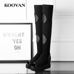 Wholesale fishing flats boots - Fashion Boots Over Knee Boots Perform Shoes 2017 Spring Autumn Fish Mouth Stretch Mesh Cloth Waterproof Platform Shoes High Quality K173