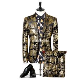 Wholesale Velour Suits For Men - Mens Gold European Style Tuxedo Blazer Suit With Flowers Fashion Stage Costumes For Singers Slim Fit Velvet Suits plus blazer For Men