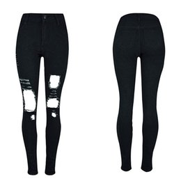Wholesale Jeans For Women Wholesale - Wholesale- Autumn Spring New Fashion Big Hole Skinny Jeans for Women S-2XL Slim Cool Ripped Jeans Woman with High Waist Black Pencil Pants