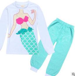 Wholesale Novelty Sleepwear - Kids Clothing Mermaid Pajamas Kids Girls Sets Princess Infantil Sleepwear Home Clothing Cartoon Baby Pajama DHL Free Shipping