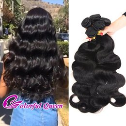 Wholesale Virgin 1b - Unprocessed Human Hair Bundles 4pcs 400g Brazilian Peruvian Malaysian Indian Virgin Hair Body Wave Straight kinky Curly Human Hair Weaves 1B