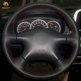 Wholesale renault leather - Mewant Black Artificial Leather Car Steering Wheel Cover for Nissan Almera N16 Pathfinder Primera XTrail 2001-2006 Renault Samsung SM3