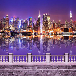 Wholesale Backdrop Lighting For Weddings - Night City Scene Bridge Photography Backdrop Vinyl Sparkling Light Buildings River Wedding Picture Shoot Background for Photo Studio
