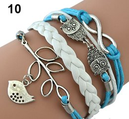 Wholesale Infinity Rudder Anchor Charm Bracelets - Wholesale-Free Shipping Mix Infinity Anchor Rudder leather love owl charm handmade bracelet blue and white color
