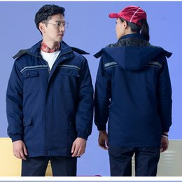 Wholesale Express Men Jacket - 10pcs Gas station jacket coat Winter clothing cotton frock winter jacket men and women labor express logistics warehouse workers work style