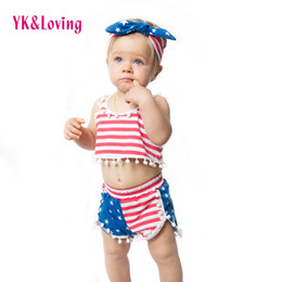 Wholesale Three Years Girls Clothes - 4th of July Outfits Girls Clothes Children Set Baby Clothing Sets Summer Style Cotton 1-4 Years