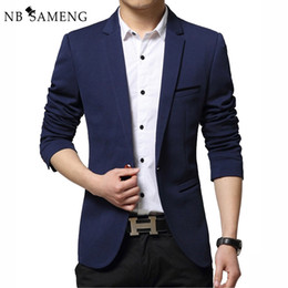 Wholesale Single Sleeve Formal Dress - Wholesale- 2017 Summer Style Luxury Business Casual Suit Men Blazers Formal Wedding Dress Jackets Brand Design Plus Size M-4XL 13M0276